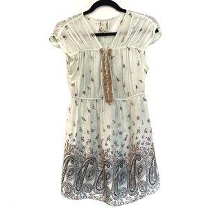 [FREEPEOPLE] V-neck short sleeve tunic mini dress